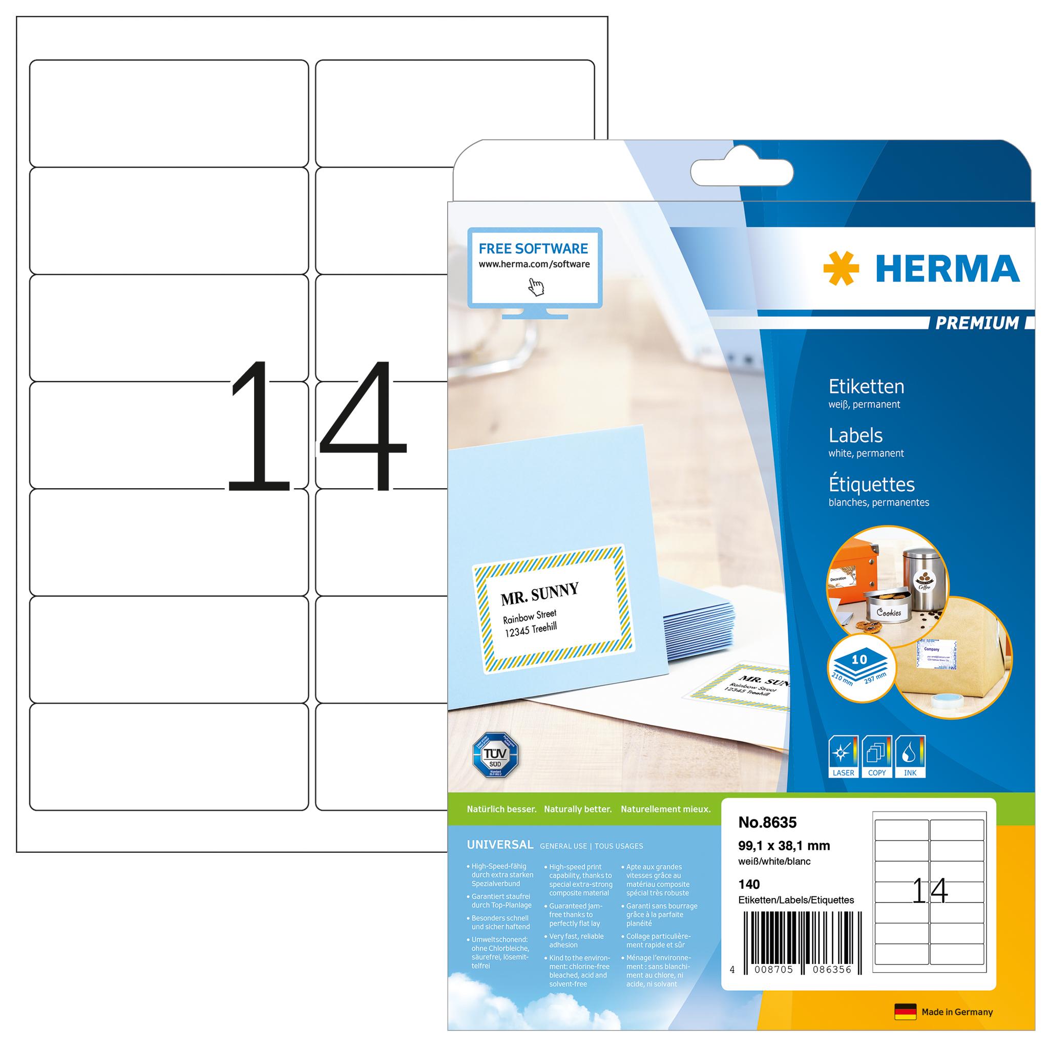 140 White Address Labels 14 per A4 Sheet Laser Inkjet